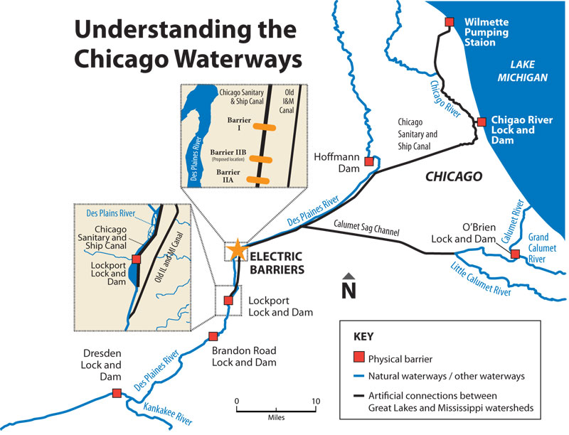 Chicago Waterways Map Aisan Carp canal map 800   Thoughts On InterMarketing
